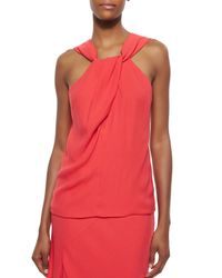 Nicholas | Red Crepe Twist-front Sleeveless Top | Lyst