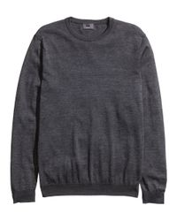 H&M - Gray Fine-Knit Jumper In A Silk Mix for Men - Lyst