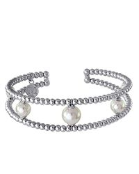 Majorica | White Two Row Silvertone Bead And Pearl Cuff Bracelet | Lyst