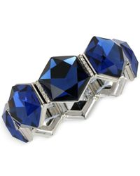 Kenneth Cole - New York Silver-tone Faceted Blue Stone Stretch Bracelet - Lyst