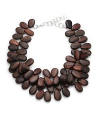 Nest | Brown Ebony Wood Teardrop Cluster Necklace | Lyst