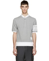 Thom Browne - Gray Grey Cotton Pique Armband Polo for Men - Lyst