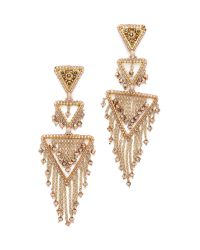 Miguel Ases | Metallic Triangle Statement Chandelier Earrings | Lyst