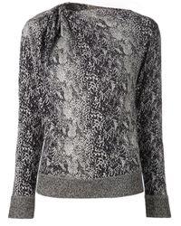 Lanvin | Black Snakeskin Sweater Top | Lyst