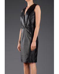 Givenchy - Black Deepv Leather Dress - Lyst