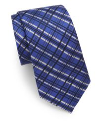 Saks Fifth Avenue | Blue Plaid Silk-blend Tie for Men | Lyst