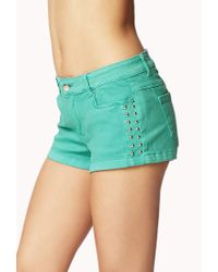 Forever 21 | Green Studded Denim Shorts | Lyst