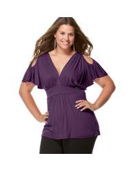 Soprano - Purple Plus Size Cold Shoulder Empire Top - Lyst