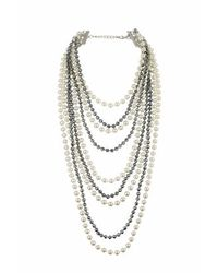 TOPSHOP | Natural Facet And Pearl Multi-row Necklace | Lyst