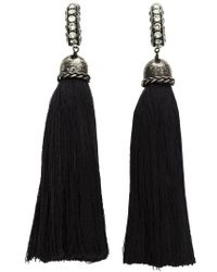 Lanvin - Black Tassel Clip-on Earrings - Lyst