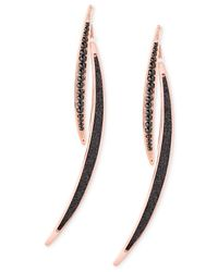 Guess | Pink Rose Gold-tone With Hematite-tone Stone And Glitter Front Back Earrings | Lyst