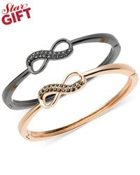 Guess | Pink Two-tone Crystal Bow Bangle Bracelet Set | Lyst