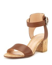 Gianvito Rossi - Brown Block-Heeled Leather Sandals - Lyst
