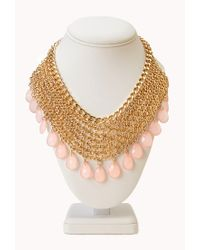 Forever 21 | Pink Goddess Teardrop Chain Bib Necklace | Lyst
