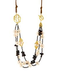 Indulgems - Multicolor Layered White Pearl Pussywillow Statement Necklace - Lyst