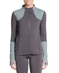 Saks Fifth Avenue | Gray Striped Panel Zip Jacket | Lyst
