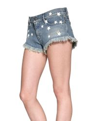 DIESEL - Blue Destroyed Stretch Denim Shorts - Lyst