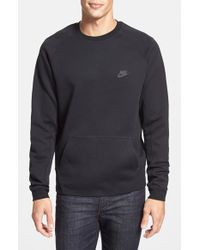 Nike | Black 'tech Fleece' Thermal Crewneck Sweatshirt for Men | Lyst