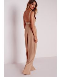 Missguided - Natural White Embroidery Jumpsuit Nude - Lyst