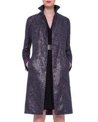 Akris - Blue Foiled Crepe Mid-length Coat - Lyst