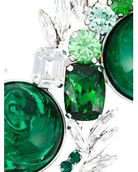 Shourouk - Green Silver-tone Paillette And Crystal Necklace - Lyst