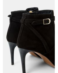 Violeta by Mango | Black Flat Suede Ankle Boots | Lyst