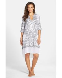 DKNY | Gray 'uptown' Sleep Shirt | Lyst