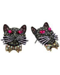 Betsey Johnson - Black Dark Shadows Cat Stud Earrings - Lyst
