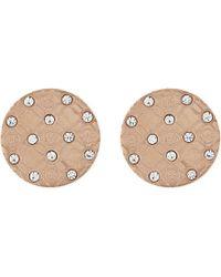 Michael Kors | Metallic Monogram Etched Stud Earrings | Lyst