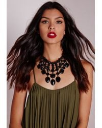 Missguided | Black Statement Multi Tiered Necklace | Lyst