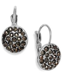 INC International Concepts - Metallic Silver-tone Crystal Disc Leverback Earrings - Lyst