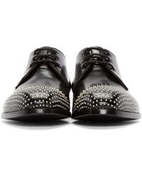 Alexander McQueen - Black Leather Studded Derbys for Men - Lyst