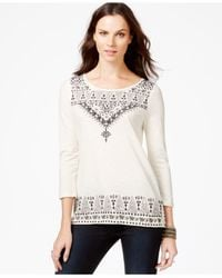 Lucky Brand | Natural Lucky Brand Three-quarter-sleeve Embroidered Top | Lyst