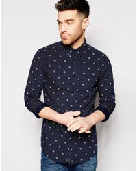 Ben Sherman | Blue Mosaic Geo Pattern Long Sleeve Button Down Shirt for Men | Lyst