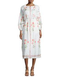 Vilshenko - Pink Floral-print Bishop-sleeve Silk Dress - Lyst