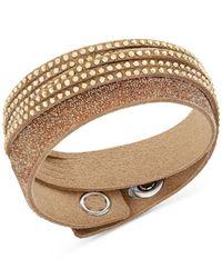 Swarovski - Brown Duo Crystal Wrap Bracelet - Lyst