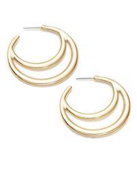 R.j. Graziano | Metallic Goldtone Crescent Hoops, 1.5 In | Lyst