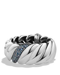 David Yurman | Metallic Hampton Cable Bracelet With Grey Diamonds & Sapphires | Lyst