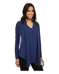 Vince Camuto | Blue Mixed Media Top W/ Chiffon Overlay | Lyst