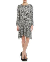 Vince Camuto - Black Longsleeve Animal Print Dress - Lyst