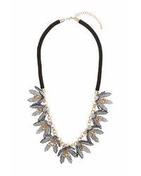 TOPSHOP - Black Grey Flower Rope Necklace - Lyst