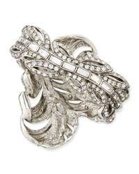 Oscar de la Renta - Metallic Pave Crystal Feather Cuff - Lyst