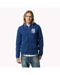 Tommy Hilfiger | Blue Cotton Blend Zipped Hoody for Men | Lyst