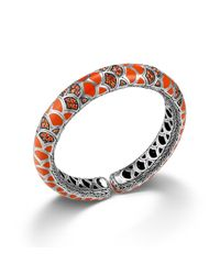 John Hardy | Slim Flex Cuff In Orange Color Way Enamel | Lyst