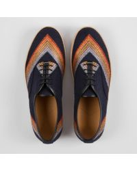 Paul Smith | Blue Navy Rainbow Bouclé And Leather 'Rick' Trainers for Men | Lyst