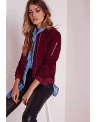 Missguided - Purple Ponte Bomber Jacket Burgundy - Lyst