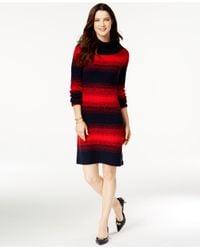 Tommy Hilfiger | Red Cowl-neck Striped Sweater Dress | Lyst