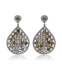 Bavna | Brown Sterling Silver Labradorite And Diamond Drop Earring | Lyst