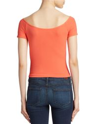 Jessica Simpson | Pink Off-the-shoulder Crop Top | Lyst