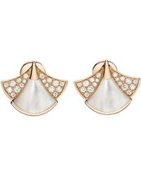 BVLGARI | White Diva 18ct Pink-gold, Pearl And Diamond Earrings | Lyst